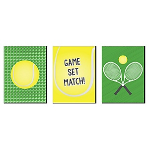 You Got Served - Tennis - Sports Themed Wall Art, Kids Room Decor and Game Room Home Decorations - 7.5 x 10 inches - Set of 3 Prints