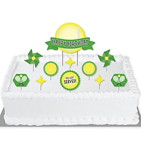 You Got Served - Tennis - Tennis Ball Birthday Party Cake Decorating Kit - Happy Birthday Cake Topper Set - 11 Pieces