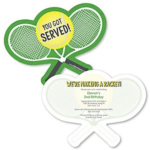 You Got Served - Tennis - Shaped  Birthday Party Invitations - Set of 12