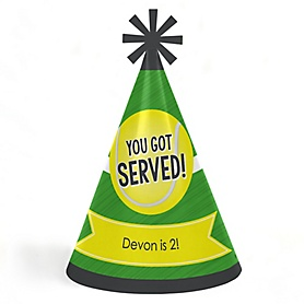 You Got Served - Tennis - Personalized Cone  Happy Birthday Party Hats for Kids and Adults - Set of 8 (Standard Size)