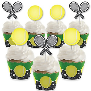 You Got Served - Tennis - Cupcake Decoration - Baby Shower or Tennis Ball Birthday Party Cupcake Wrappers and Treat Picks Kit - Set of 24