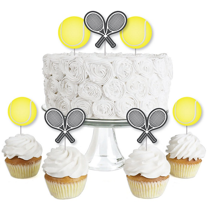 You Got Served - Tennis - Dessert Cupcake Toppers - Baby Shower or Tennis Ball Birthday Party Clear Treat Picks - Set of 24