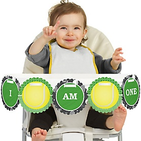 You Got Served - Tennis 1st Birthday - I am One -  First Birthday High Chair Birthday Banner
