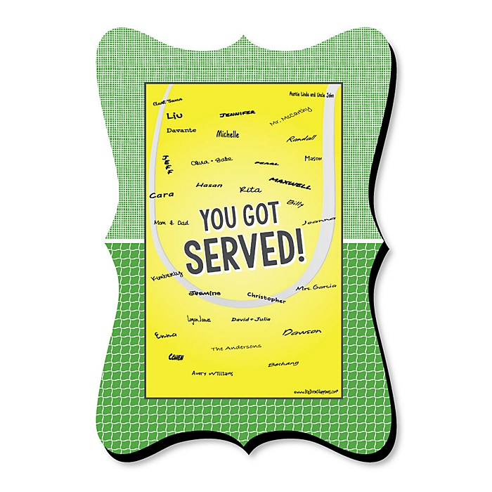 You Got Served - Tennis - Unique Alternative Guest Book - Baby Shower or Birthday Party Signature Mat