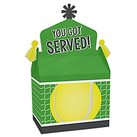 You Got Served - Tennis - Treat Box Party Favors - Baby Shower or Tennis Ball Birthday Party Goodie Gable Boxes - Set of 12