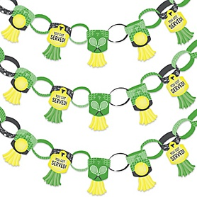 You Got Served - Tennis - 90 Chain Links and 30 Paper Tassels Decoration Kit - Baby Shower or Tennis Ball Birthday Party Paper Chains Garland - 21 feet