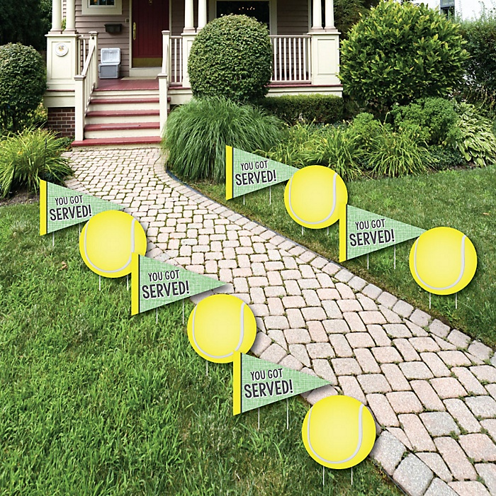 You Got Served - Tennis - Lawn Decorations - Outdoor Baby Shower or Birthday Party Yard Decorations - 10 Piece