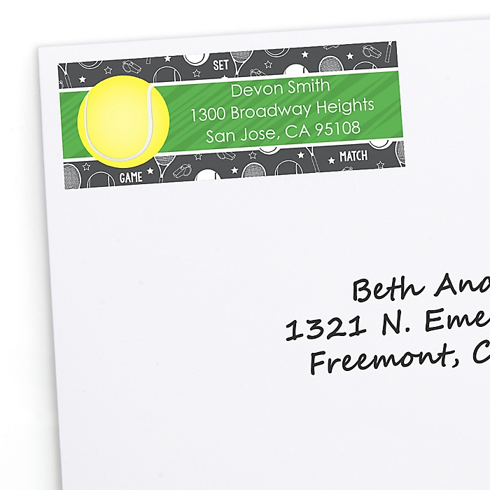You Got Served - Tennis - Personalized Baby Shower or Birthday Party Return Address Labels - 30 ct