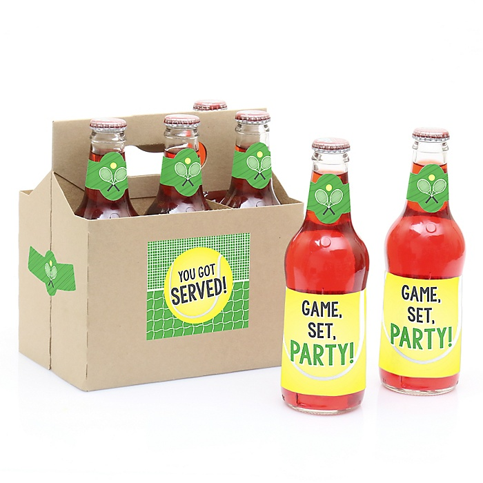 You Got Served - Tennis - Decorations for Women and Men - 6 Tennis Party Soda/Beer Bottle Label Stickers and 1 Carrier