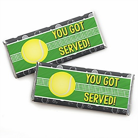You Got Served - Tennis -  Candy Bar Wrapper Baby Shower or Birthday Party Favors - Set of 24
