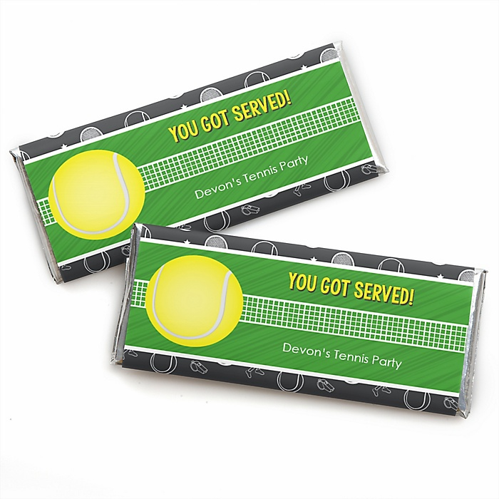 You Got Served - Tennis - Personalized Candy Bar Wrapper Baby Shower or Birthday Party Favors - Set of 24