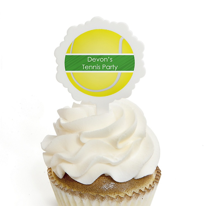 You Got Served - Tennis - Cupcake Picks with Personalized Stickers - Baby Shower or Birthday Party Cupcake Toppers - 12 ct
