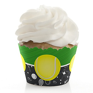 You Got Served - Tennis - Baby Shower or Birthday Decorations - Party Cupcake Wrappers - Set of 12