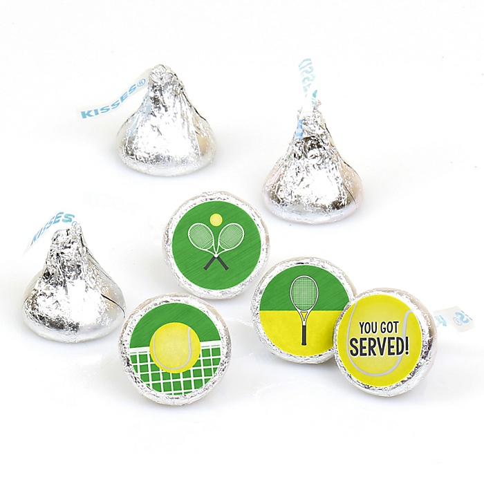 You Got Served - Tennis - Baby Shower or Birthday Party Round Candy Sticker Favors - Labels Fit Hershey's Kisses  - 108 ct