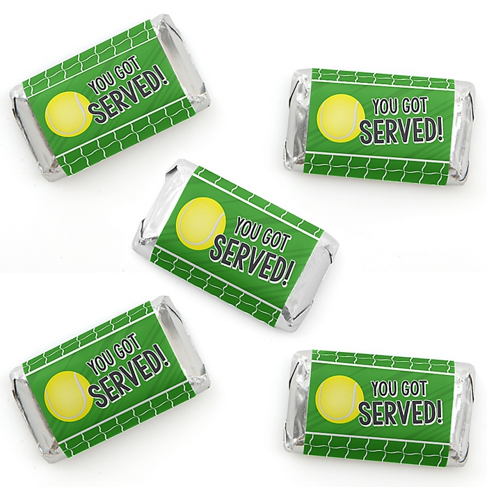 You Got Served - Tennis - Mini Candy Bar Wrapper Stickers - Baby Shower or Tennis Ball Birthday Party Small Favors - 40 Count