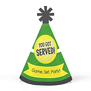 You Got Served - Tennis - Personalized Mini Cone Baby Shower or Birthday Party Hats - Small Little Party Hats - Set of 10