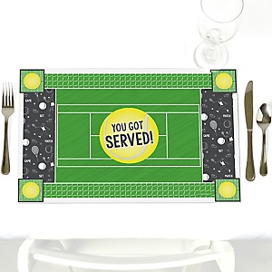 You Got Served - Tennis - Party Table Decorations - Baby Shower or Birthday Party Placemats - Set of 12