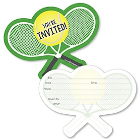 You Got Served - Tennis - Shaped Fill-In Invitations - Baby Shower or Birthday Party Invitation Cards with Envelopes - Set of 12