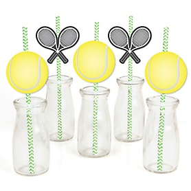 You Got Served - Tennis - Paper Straw Decor - Baby Shower or Birthday Party Striped Decorative Straws - Set of 24
