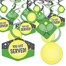 You Got Served - Tennis - Baby Shower or Tennis Ball Birthday Party Hanging Decor - Party Decoration Swirls - Set of 40