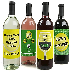 You Got Served - Tennis – Wine Bottle Gift Labels - Tennis Party Decorations for Women and Men - Wine Bottle Label Stickers - Set of 4