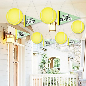 Hanging You Got Served - Tennis - Outdoor Baby Shower or Birthday Party Hanging Porch & Tree Yard Decorations - 10 Pieces