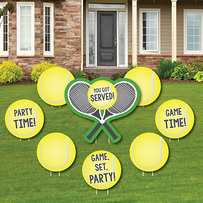 You Got Served - Tennis - Yard Sign & Outdoor Lawn Decorations - Baby Shower or Birthday Party Yard Signs - Set of 8