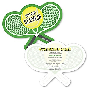 You Got Served - Tennis - Shaped Baby Shower Invitations - Set of 12