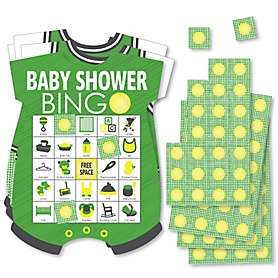 You Got Served - Tennis - Picture Bingo Cards and Markers - Tennis Ball Baby Shower Shaped Bingo Game - Set of 18