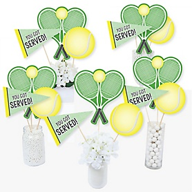 You Got Served - Tennis - Baby Shower or Tennis Ball Birthday Party Centerpiece Sticks - Table Toppers - Set of 15