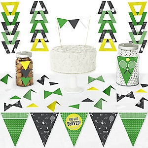 You Got Served - Tennis - DIY  Pennant Banner Decorations - Baby Shower or Tennis Ball Birthday Party Triangle Kit - 99 Pieces