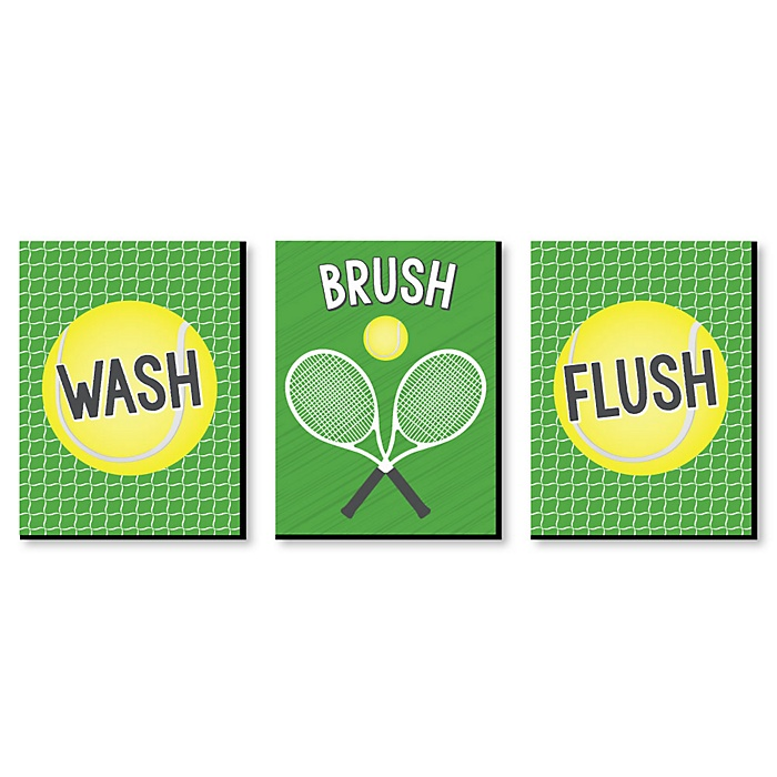 You Got Served - Tennis - Kids Bathroom Rules Wall Art - 7.5 x 10 inches - Set of 3 Signs - Wash, Brush, Flush
