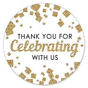 Thank You For Celebrating With Us - Gold - Party Favor Sticker Labels - 24 ct