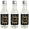 Elegant Thankful for Friends - Mini Wine and Champagne Bottle Label Stickers - Friendsgiving Thanksgiving Party Favor Gift - Set of 16