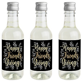 Elegant Thankful for Friends - Mini Wine and Champagne Bottle Label Stickers - Friendsgiving Thanksgiving Party Favor Gift - For Women and Men - Set of 16