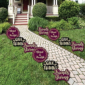 Elegant Thankful for Friends - Lawn Decorations - Outdoor Friendsgiving Thanksgiving Party Yard Decorations - 10 Piece