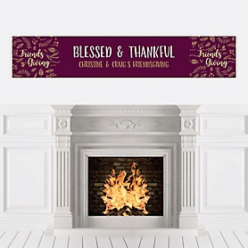 Elegant Thankful for Friends - Personalized Friendsgiving Party Banner