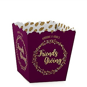 Elegant Thankful for Friends - Party Mini Favor Boxes - Personalized Friendsgiving Party Treat Candy Boxes - Set of 12