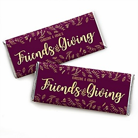 Elegant Thankful for Friends - Personalized Candy Bar Wrapper Friendsgiving Party Favors - Set of 24