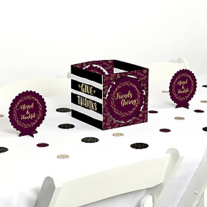 Elegant Thankful for Friends - Friendsgiving Thanksgiving Party Centerpiece and Table Decoration Kit