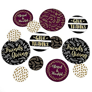 Elegant Thankful for Friends - Friendsgiving Thanksgiving Party Giant Circle Confetti - Friendsgiving Thanksgiving Party Decorations - Large Confetti 27 Count