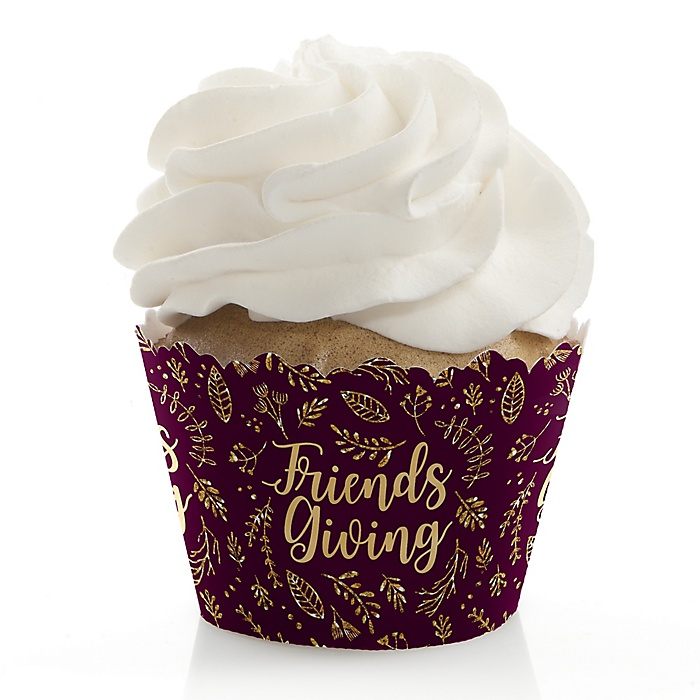 Elegant Thankful for Friends - Friendsgiving Party Decorations - Party Cupcake Wrappers - Set of 12