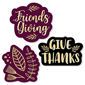 Elegant Thankful for Friends - DIY Shaped Friendsgiving Thanksgiving Party Cut-Outs - 24 ct