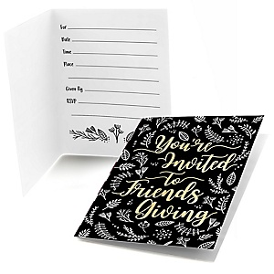 Elegant Thankful for Friends - Set of 8 Fill In Friendsgiving Party Invitations