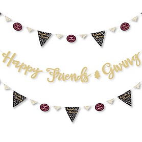 Elegant Thankful for Friends - Friendsgiving Thanksgiving Party Letter Banner Decoration - 36 Banner Cutouts and No-Mess Real Gold Glitter Happy Friends Giving Banner Letters