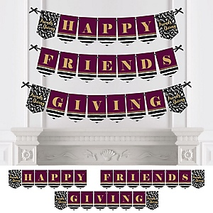 Elegant Thankful for Friends - Personalized Friendsgiving Thanksgiving Party Bunting Banner & Decorations