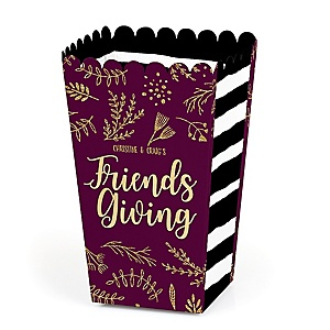 Elegant Thankful for Friends - Personalized Friendsgiving Party Popcorn Favor Treat Boxes - Set of 12