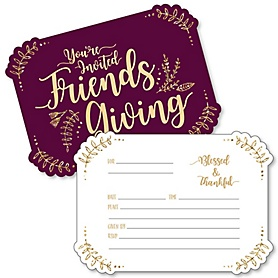 Elegant Thankful for Friends - Shaped Fill-In Invitations - Friendsgiving Thanksgiving Party Invitation Cards with Envelopes - Set of 12