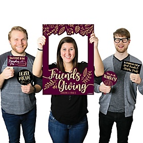 Elegant Thankful for Friends - Personalized Friendsgiving Selfie Photo Booth Picture Frame & Props - Printed on Sturdy Material