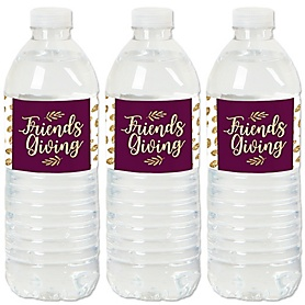 Elegant Thankful for Friends - Friendsgiving Thanksgiving Party Water Bottle Sticker Labels - Set of 20